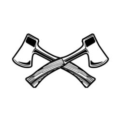 ThatShirt T-Shirt Clip Art - Outdoors - HATCHETS_BW