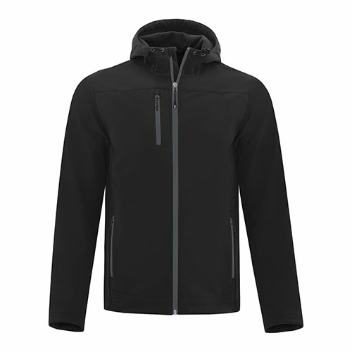 Custom Printed Coal Harbour J7605 Essential Hooded Soft Shell Jacket - Front View | ThatShirt