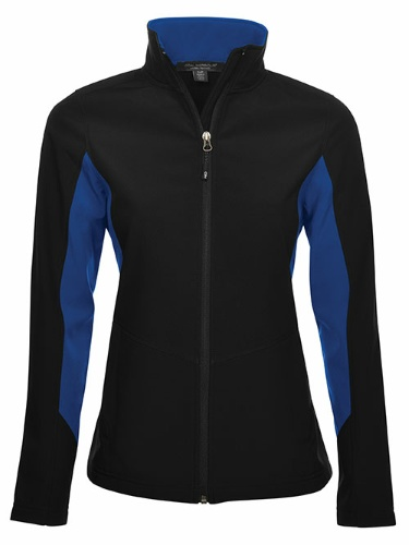 Custom Printed Coal Harbour L7604 Everyday Colour Block Soft Shell Ladies Jacket - Front View   ThatShirt