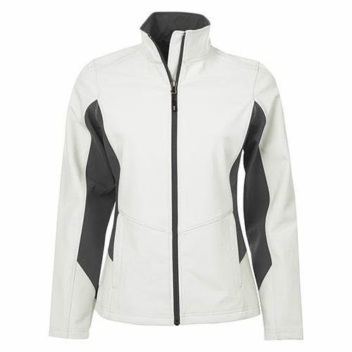 Custom Printed Coal Harbour L7604 Everyday Colour Block Soft Shell Ladies Jacket - Front View | ThatShirt