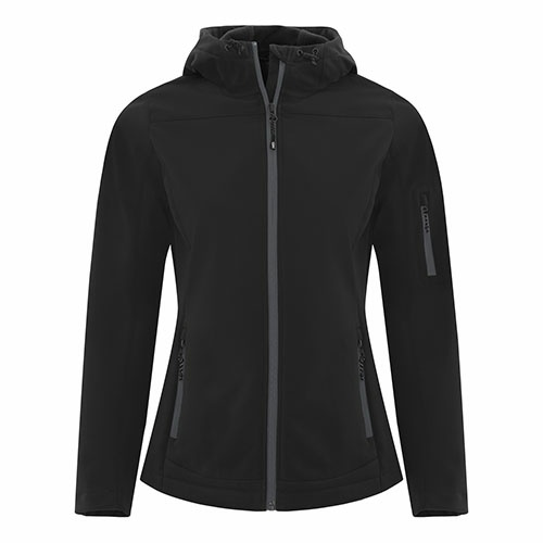 Custom Printed Coal Harbour L7605 Essential Hooded Soft Shell Ladies' Jacket - Front View | ThatShirt